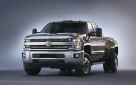 2015 Chevrolet Silverado 3500 HD LTZ crew cab pickup with dual rear wheels