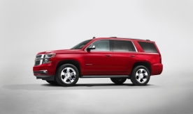 2015 Chevrolet Tahoe in Crystal Claret side view from New York Reveal
